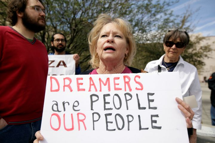 Members of the Border Network for Human Rights and Borders Dreamers and Youth Alliance protest March 5 outside of a federal c