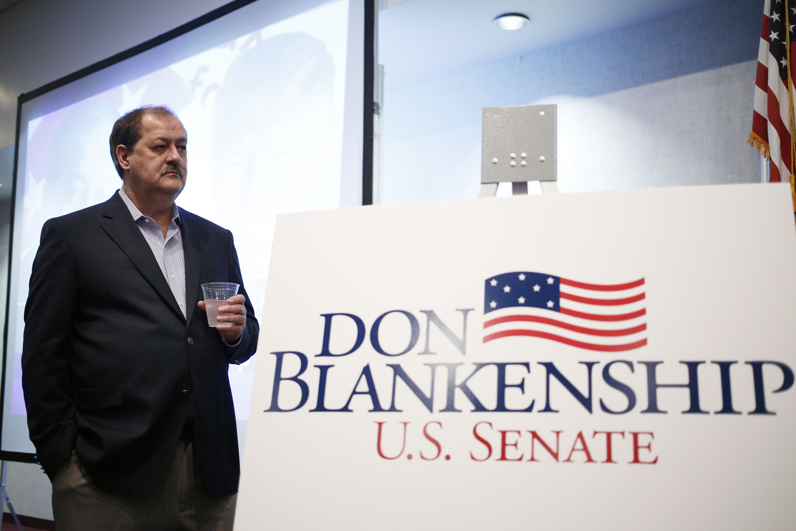 Blankenship at a campaign event on Feb. 1. The former coal CEO has denied any responsibility for the death of 29 miners at Up