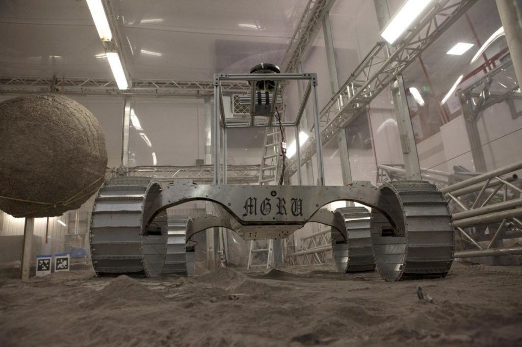 A model for the Resource Prospector rover is tested at the Kennedy Space Center