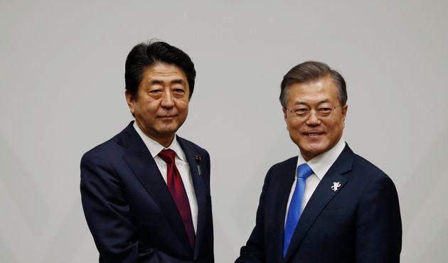 문대통령이 북일 사이에서 적극 역할하겠다고 아베 총리에게