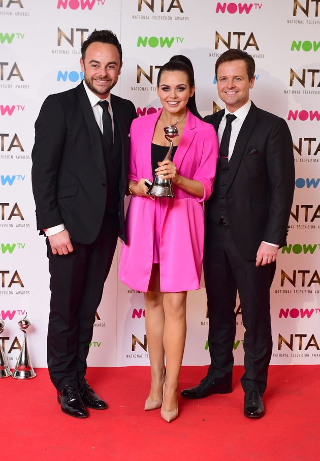 Ant McPartlin, Scarlett Moffatt and Declan Donnelly at the 2017