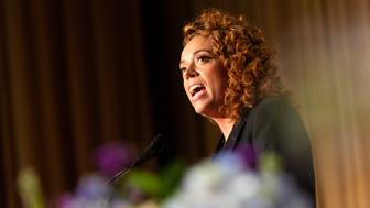 Comedian Michelle Wolf entertains guests at the White House Correspondents' Association (WHCA) dinner at The Washington Hilton in Washington, D.C., on Saturday, April 28, 2018. The 104th WHCA raises money for scholarships and honors the recipients of the organization's journalism awards. (Photo by Cheriss May) (Photo by Cheriss May/NurPhoto via Getty Images)