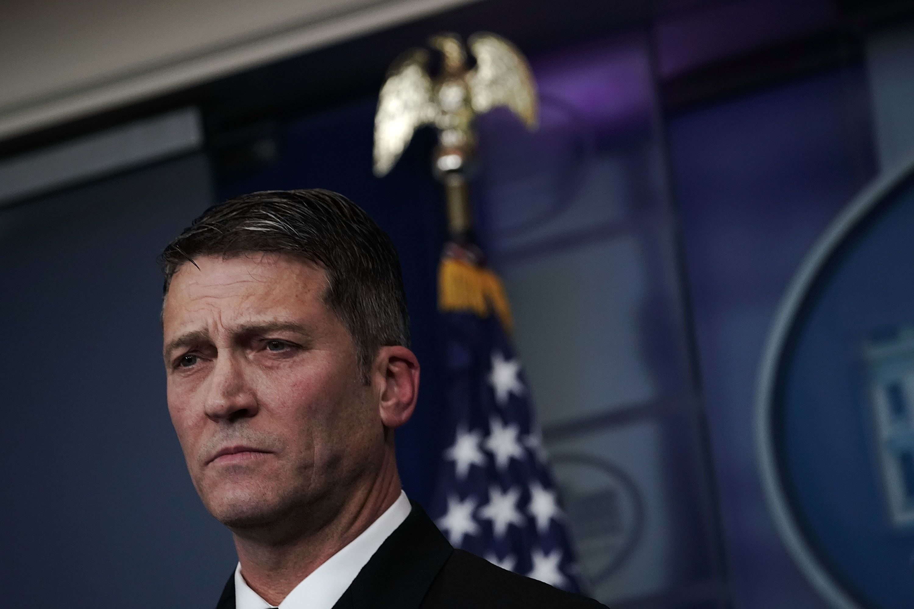 WASHINGTON, DC - JANUARY 16:  Physician to U.S. President Donald Trump Dr. Ronny Jackson listens during the daily White House press briefing at the James Brady Press Briefing Room of the White House January 16, 2018 in Washington, DC. Dr. Jackson discussed the details of President TrumpÕs physical check-up from last week.  (Photo by Alex Wong/Getty Images)
