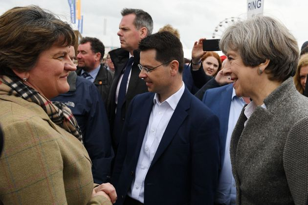 Prime Minister Theresa May and the then Northern Ireland Secretary James Brokenshire meet Democratic...