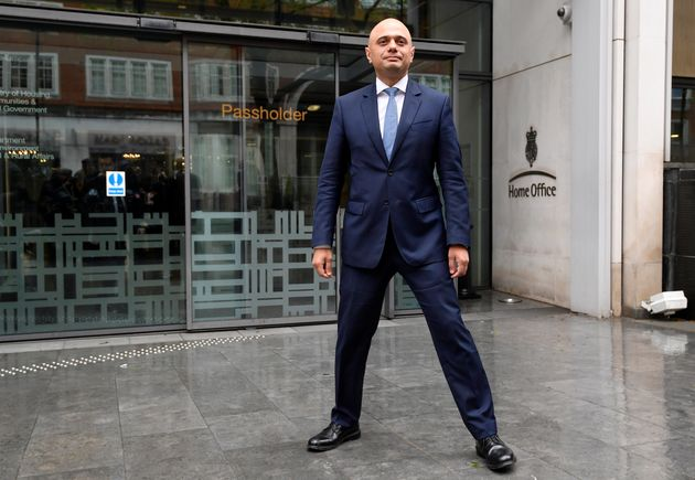 Javid stands outside the Home Office after being named home