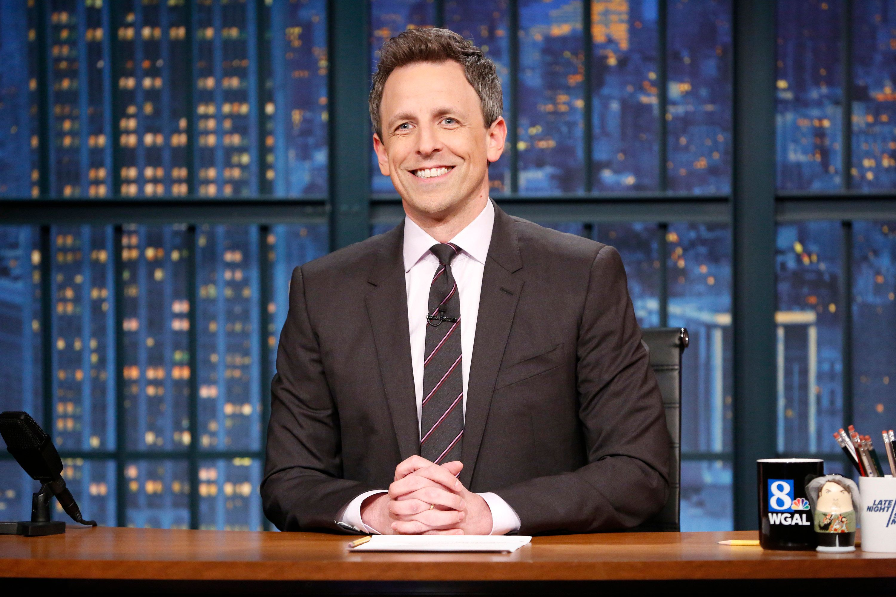 LATE NIGHT WITH SETH MEYERS -- Episode 671 -- Pictured: Host Seth Meyers at his desk during the monologue on April 10, 2018 -- (Photo by: Lloyd Bishop/NBC/NBCU Photo Bank via Getty Images)