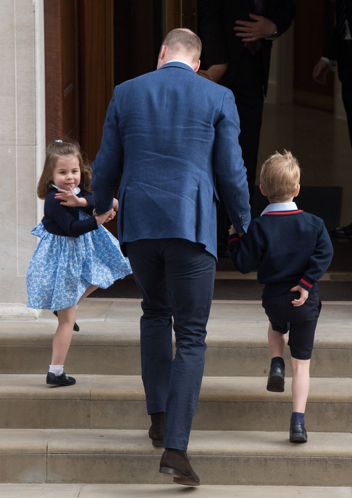 Prince William, Duke of Cambridge arrives with Prince George and Princess Charlotte at the Lindo Wing after Catherine, Duchess of Cambridge gave birth to their son at St Mary's Hospital on 23 April 2018 in London, England.
