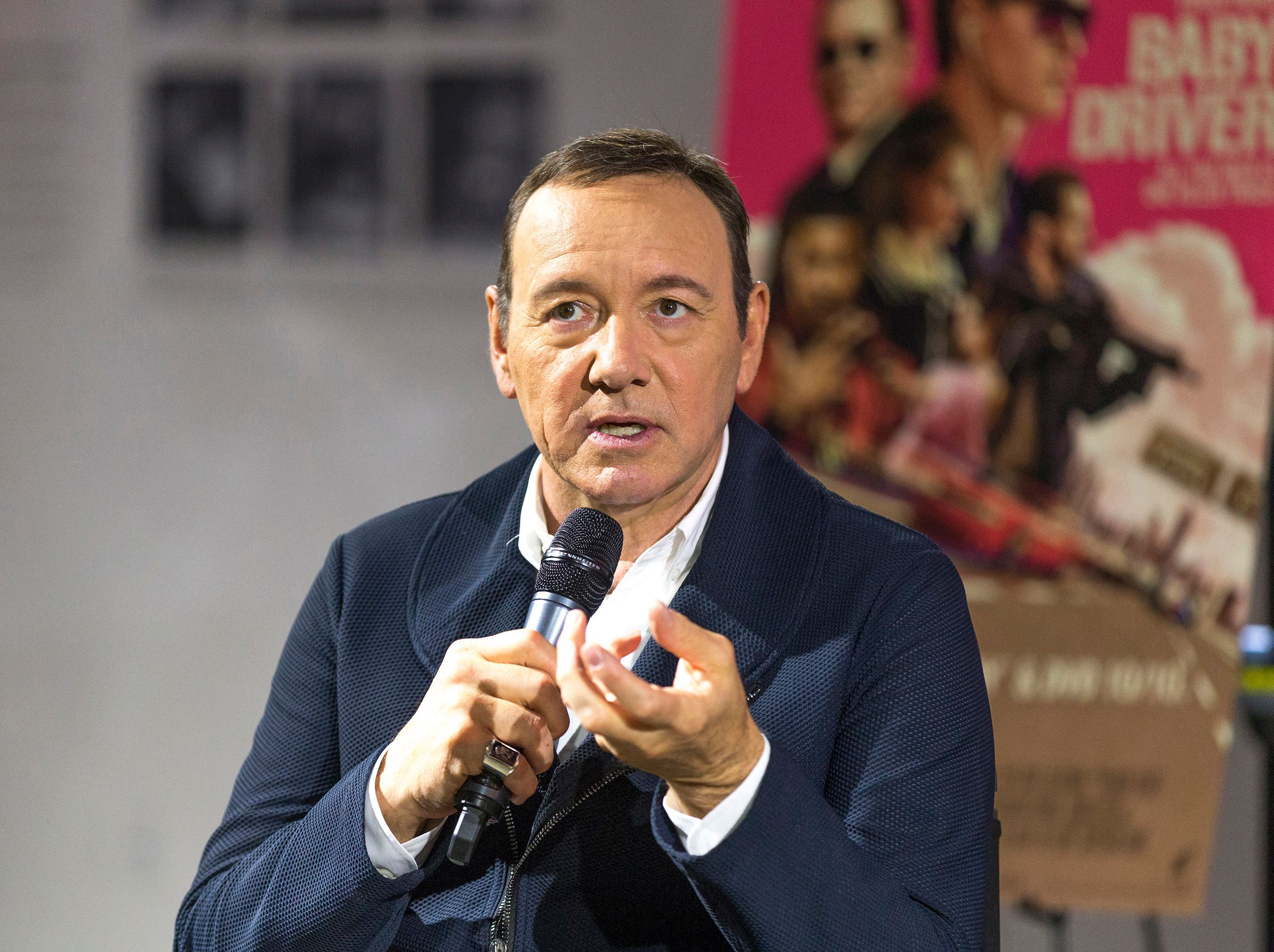 LOS ANGELES, CA - OCTOBER 04:  Actor/producer Kevin Spacey talks on stage at Cars, Arts & Beats: A Night Out With 'Baby Driver' at the Petersen Automotive Museum on October 4, 2017 in Los Angeles, California.  (Photo by Rochelle Brodin/Getty Images for Sony Pictures Home Entertainment)
