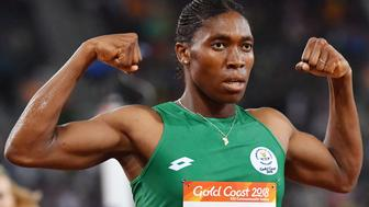 South Africa's Caster Semenya celebrates winning the athletics women's 1500m final during the 2018 Gold Coast Commonwealth Games at the Carrara Stadium on the Gold Coast on April 10, 2018. / AFP PHOTO / SAEED KHAN        (Photo credit should read SAEED KHAN/AFP/Getty Images)