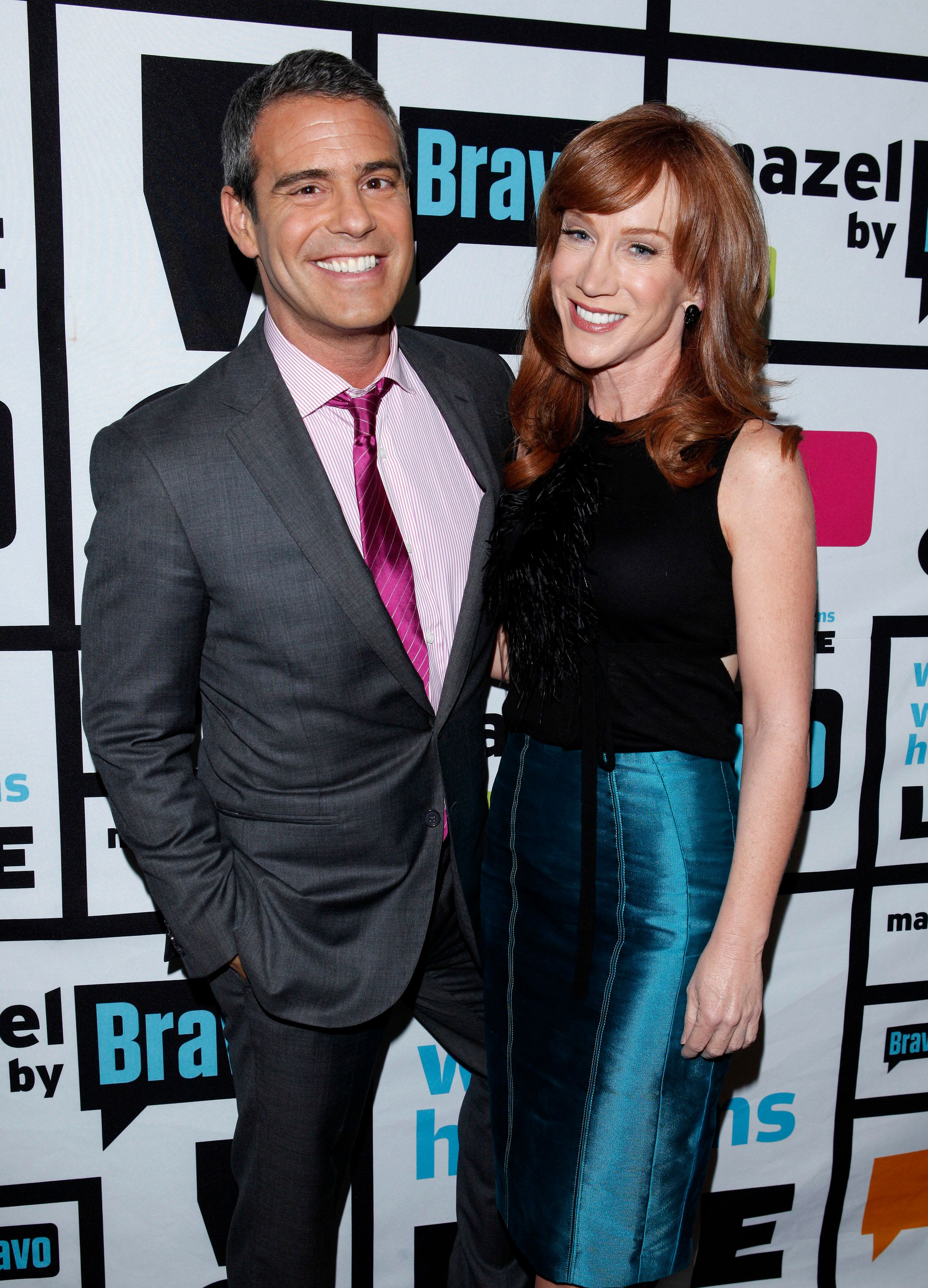 WATCH WHAT HAPPENS LIVE -- Pictured: (l-r) Andy Cohen, Kathy Griffin -- (Photo by: Peter Kramer/Bravo/NBCU Photo Bank via Getty Images)