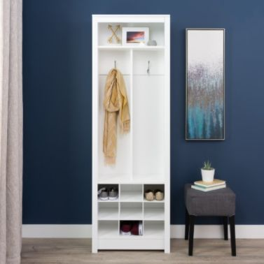 """Why stop at just organizing your shoes? This <a href=""""https://jet.com/product/Prepac-Space-Saving-Entryway-Organizer-with-Sho"""