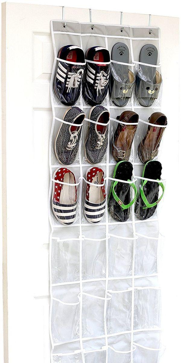 "No room for a shoe rack? No problem. This <a href=""https://www.amazon.com/24-Pockets-SimpleHouseware-Crystal-Organizer/dp/B01"