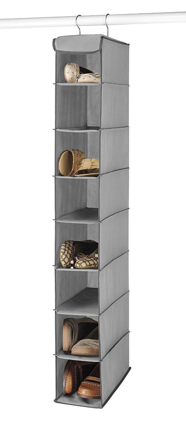"""Perhaps one of the most inexpensive ways to store your shoes is with a <a href=""""https://www.amazon.com/Whitmor-Hanging-Shoe-S"""