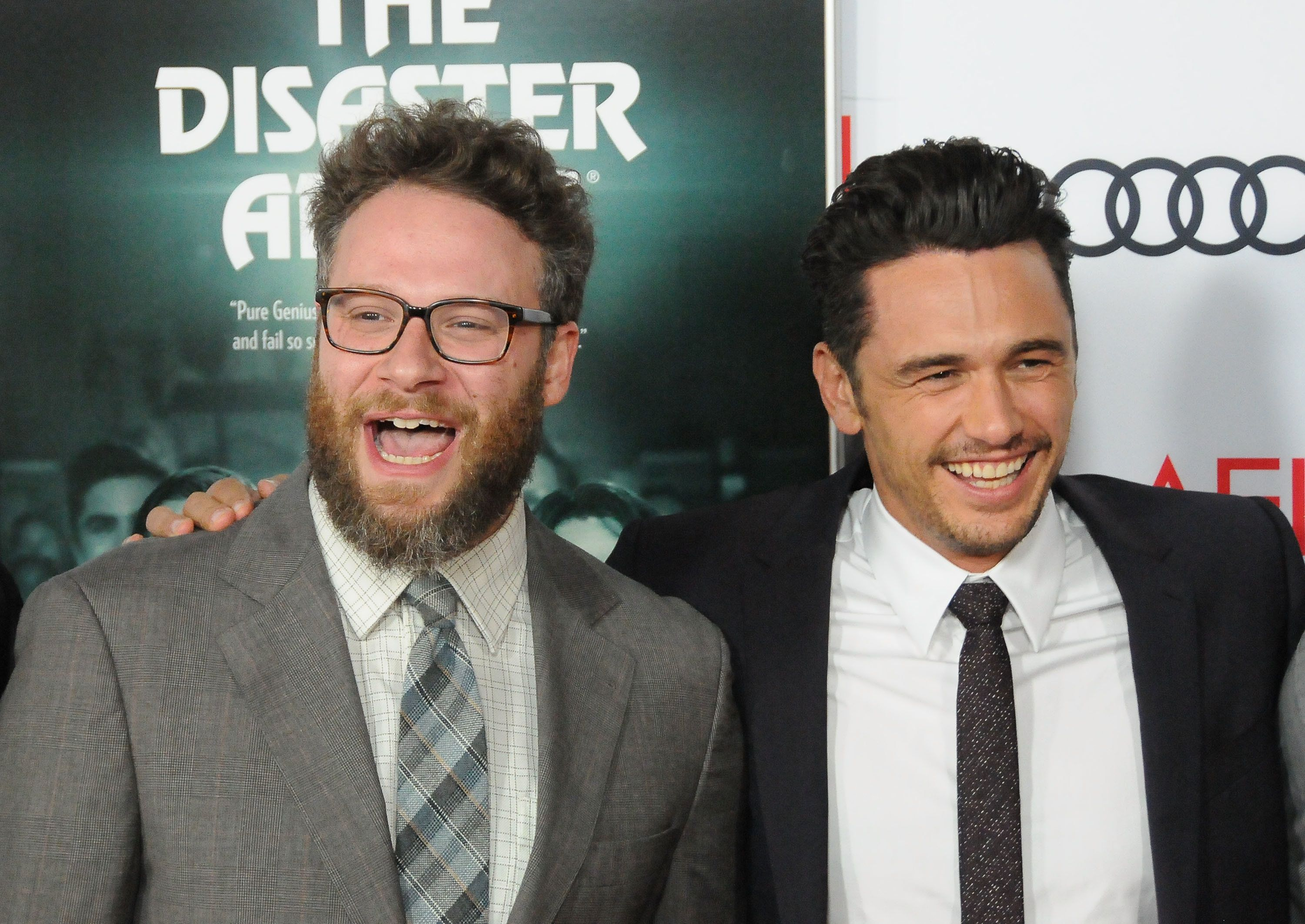 """Seth Rogen and James Franco attend a screening of """"The Disaster Artist"""" on Nov. 12, 2017."""