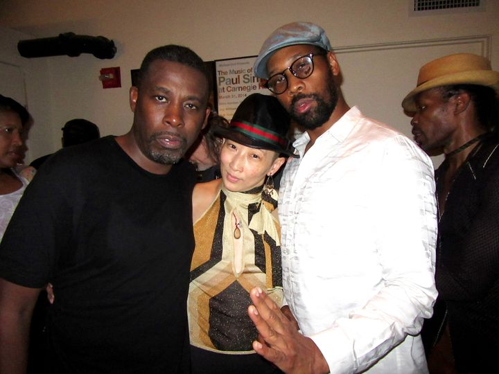 Sophia Change with Wu Tang Clan members GZA, left, and RZA.