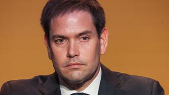 Senator Marco Rubio, a Republican from Florida, listens during a press conference at the CEO Summit of the Americas in Lima, Peru, on Saturday, April 14, 2018. The conference brings together leading CEOs and heads of state from the Americas region to analyze opportunities to promote economic growth and investment. Photographer: Guillermo Gutierrez/Bloomberg via Getty Images