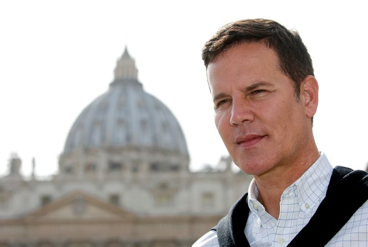 Juan Carlos Cruz is interviewed before his 2½-hour meeting with Pope Francis.