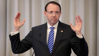 CHICAGO, IL - APRIL 26:  Deputy Attorney General Rod Rosenstein speaks to guests at the International Association of Defense Counsel's 2018 Corporate Counsel College on April 26, 2018 in Chicago, Illinois. Rosenstein has been overseeing Robert Mueller's probe into Russian meddling in the 2016 election since Attorney General Jeff Sessions recused himself.  (Photo by Scott Olson/Getty Images)