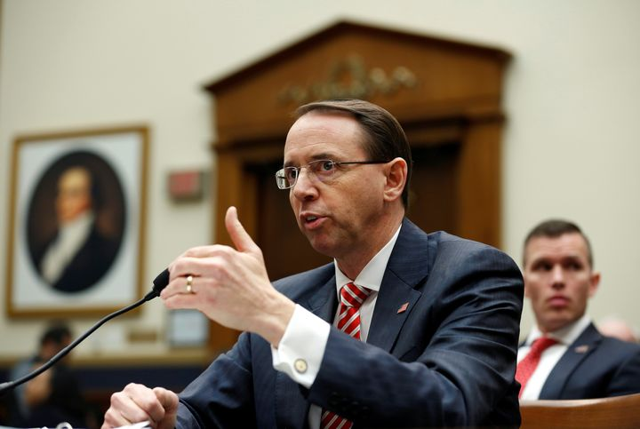 Deputy U.S. Attorney General Rod Rosenstein testifies to the House Judiciary Committeein December. A group of conservat