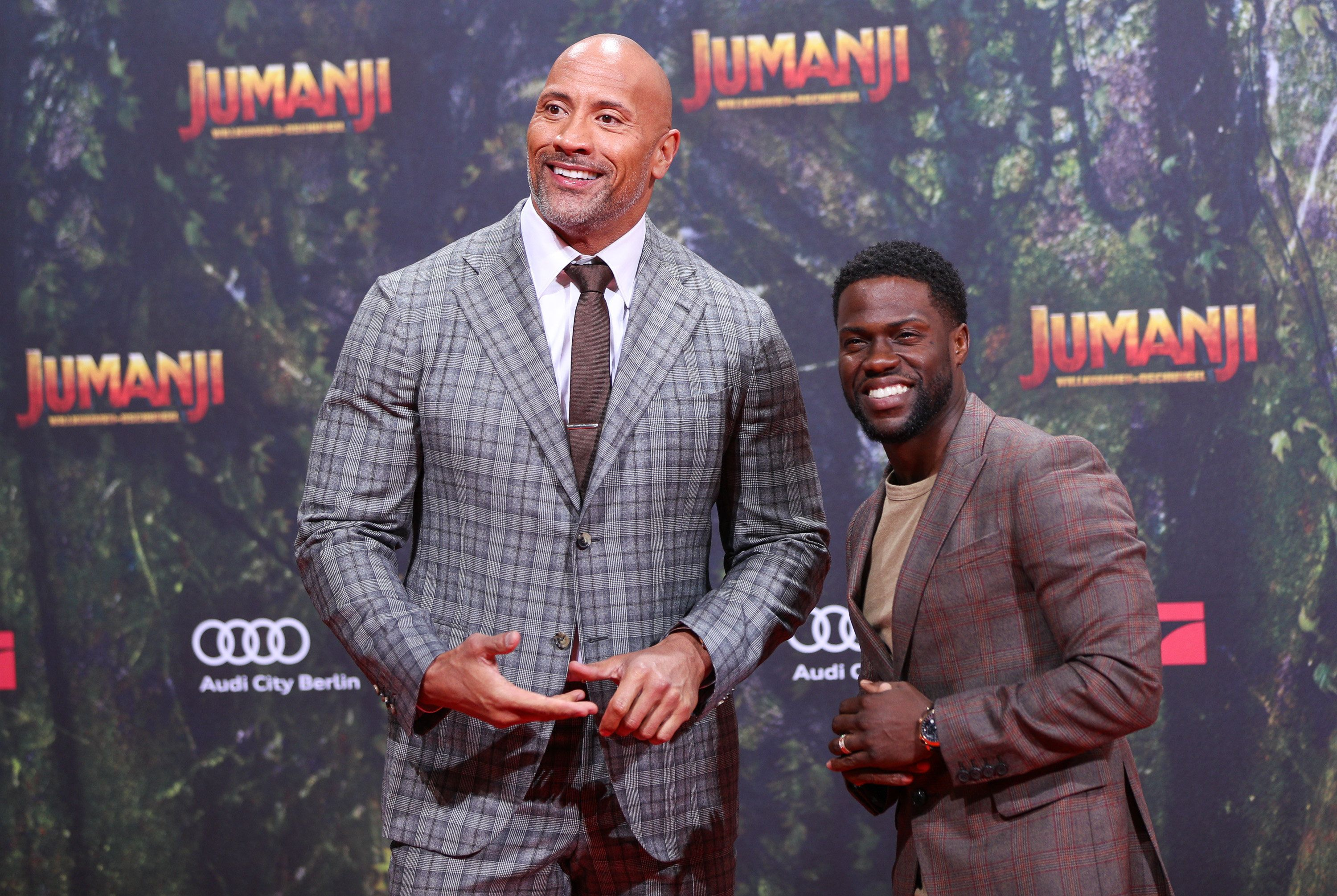 BERLIN, GERMANY - DECEMBER 06:  Dwayne Johnson and Kevin Hart arrive at the German premiere of 'Jumanji: Willkommen im Dschungel' at Sony Centre on December 6, 2017 in Berlin, Germany.  (Photo by Brian Dowling/WireImage)