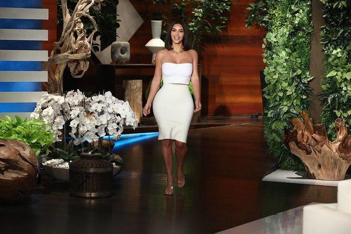 "Kim Kardashian during an appearance on Monday's episode of ""The Ellen DeGeneres Show."""
