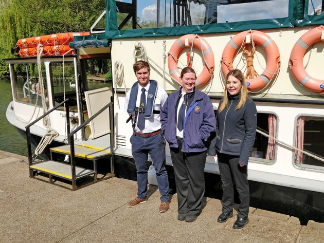 Emma Burrell (pictured in the middle) with her two colleagues: Serena (left) who is a skipper and Richard...