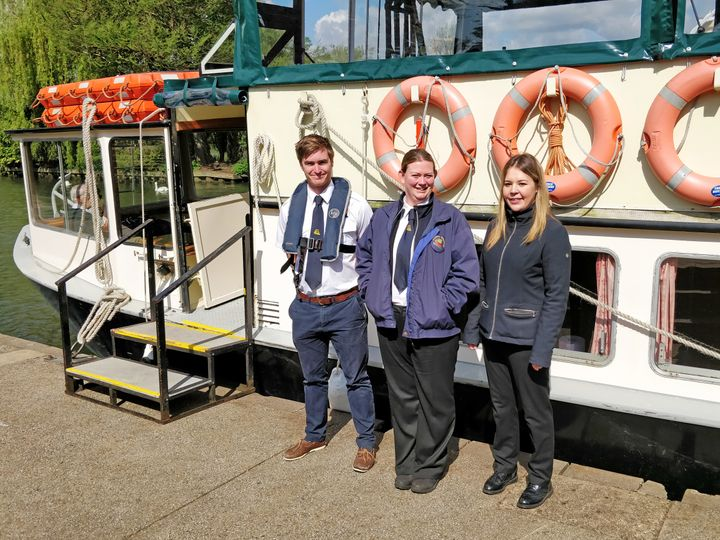 Emma Burrell (pictured in the middle) with her two colleagues: Serena (left) who is a skipper and Richard (right) who is a crewman.