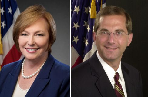 Former CDC Director Brenda Fitzgerald, left, was paid $197,300, while HHS Secretary Alex Azar, right, is currently paid $199,