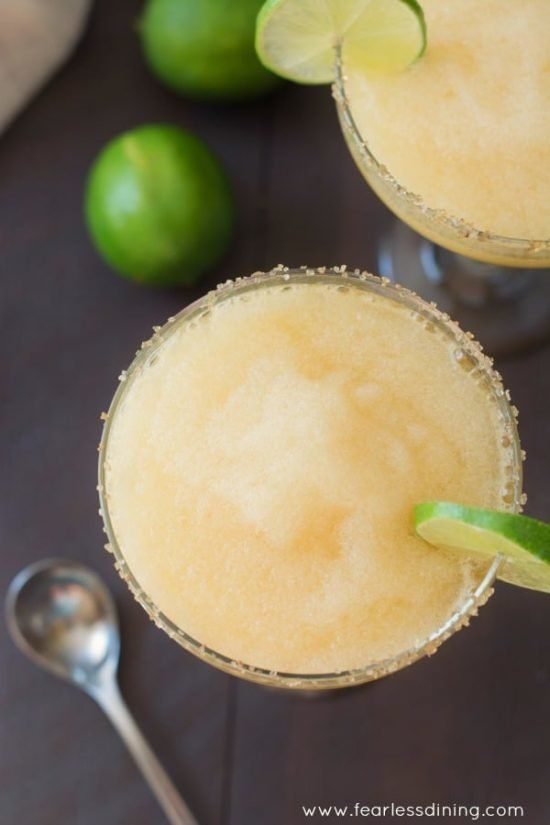 """<strong>Get the <a href=""""https://www.fearlessdining.com/frozen-peach-margaritas-with-ginger-sugar-rim/"""" target=""""_blank"""">Froze"""