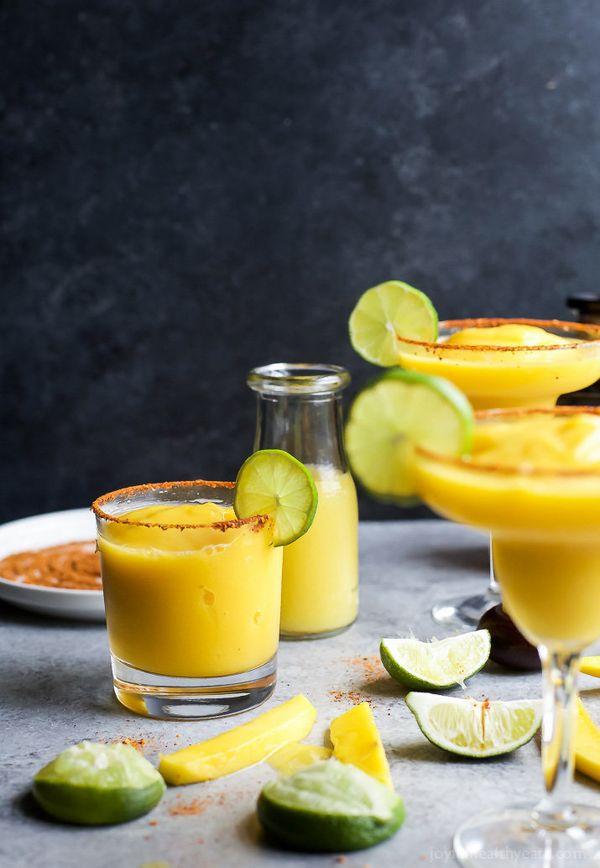 "<strong>Get the <a href=""https://www.joyfulhealthyeats.com/frozen-mango-margarita-recipe/"" target=""_blank"">Frozen Mango Marga"