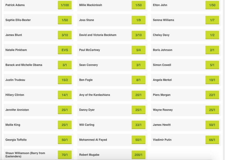 PaddyPower's guest list bets include unlikelychoices like Robert Mugabe and Jennifer Aniston (whose name appears to be misspelled here).