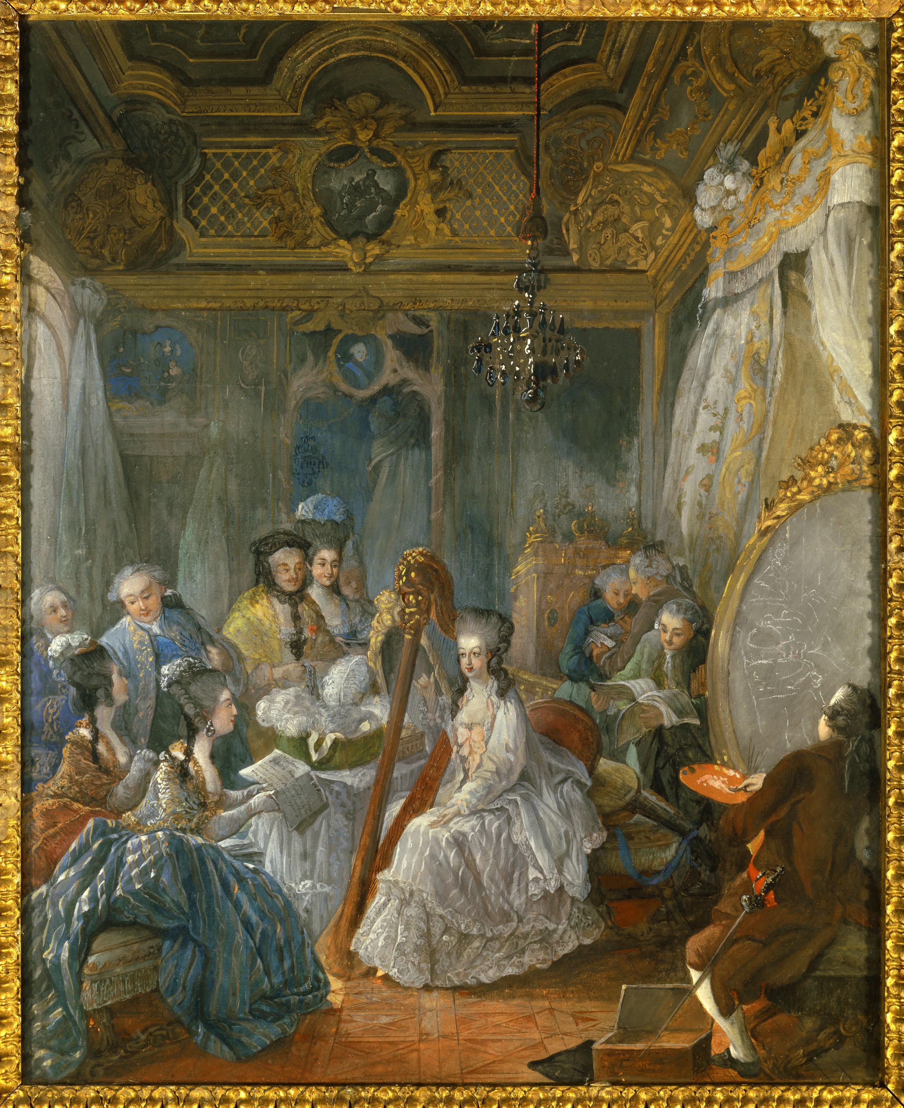 Jean Baptiste Gautier d'Agoty (1740-1786), French School. Marie Antoinette (1754-1793) playing Harp in her Chamber at Versailles. Gautier-Dagoty painting the portrait of the Queen. 1777. Gouache, 0.67 x 0.54 m. Versailles, Chateaux de Versailles et de Trianon. Gautier D Agoty Jean B. ( 1740-1786 ) Ec. Fr. , Marie Antoinette de Habsbourg Lorraine ( 1754 - 1793 ) reine de France se faisant peindre dans sa chambre en 1777 a Versailles ( gouache 0;67 x0,54 m ) , Versailles . Musee Du Chate. (Photo by: Christophel Fine Art/UIG via Getty Images)