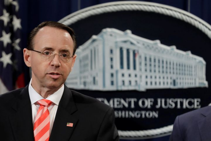 Deputy Attorney General Rod Rosenstein at the Justice Department in March.