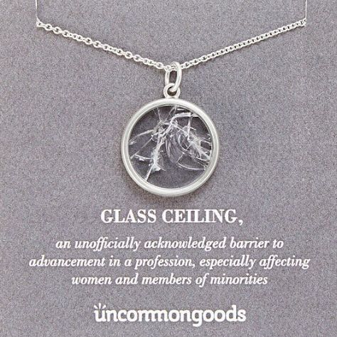 """Get it on <a href=""""https://www.uncommongoods.com/product/shattered-glass-ceiling-necklace"""" target=""""_blank"""">Uncommon Goods</a>"""