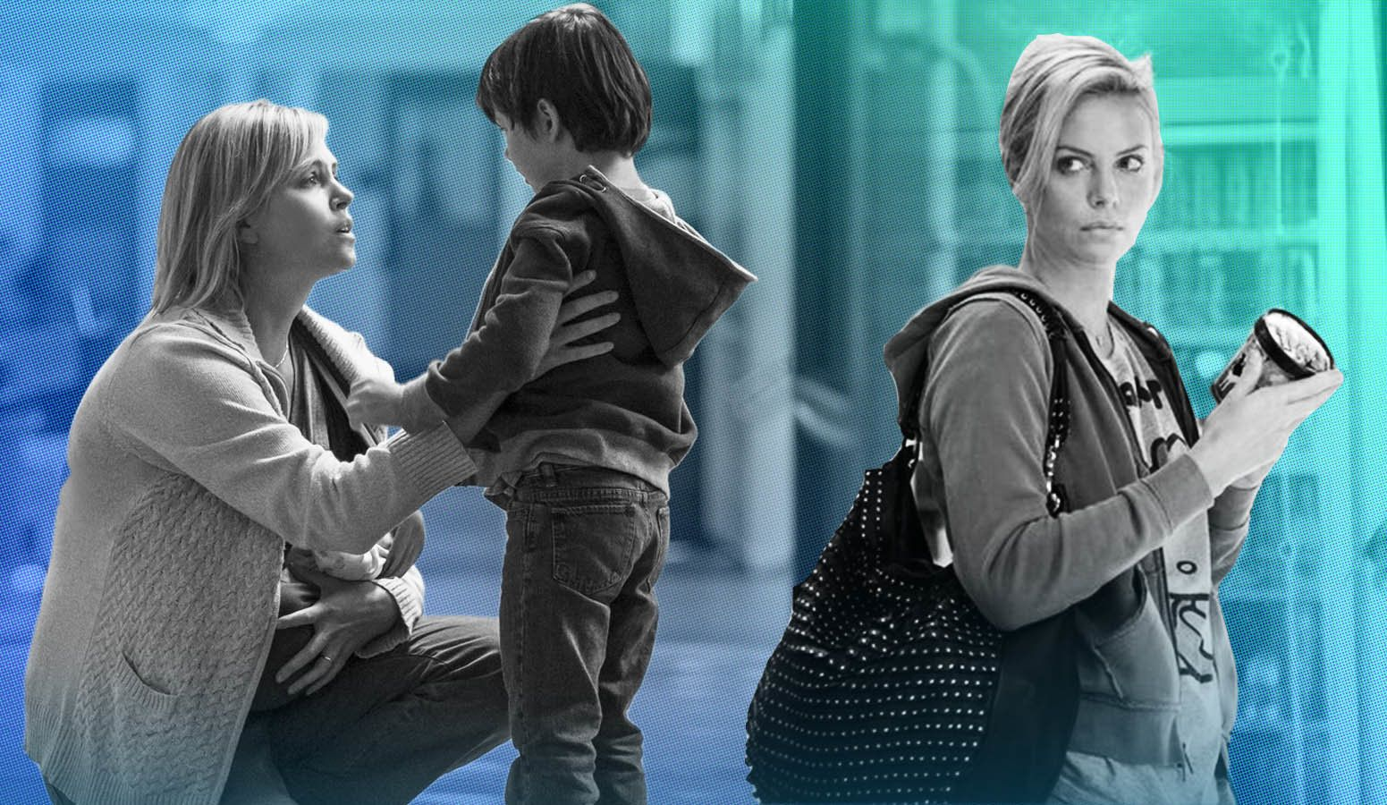 "Left: Charlize Theron and Asher Miles Fallica in ""Tully""; right: Charlize Theron in ""Young Adult."""