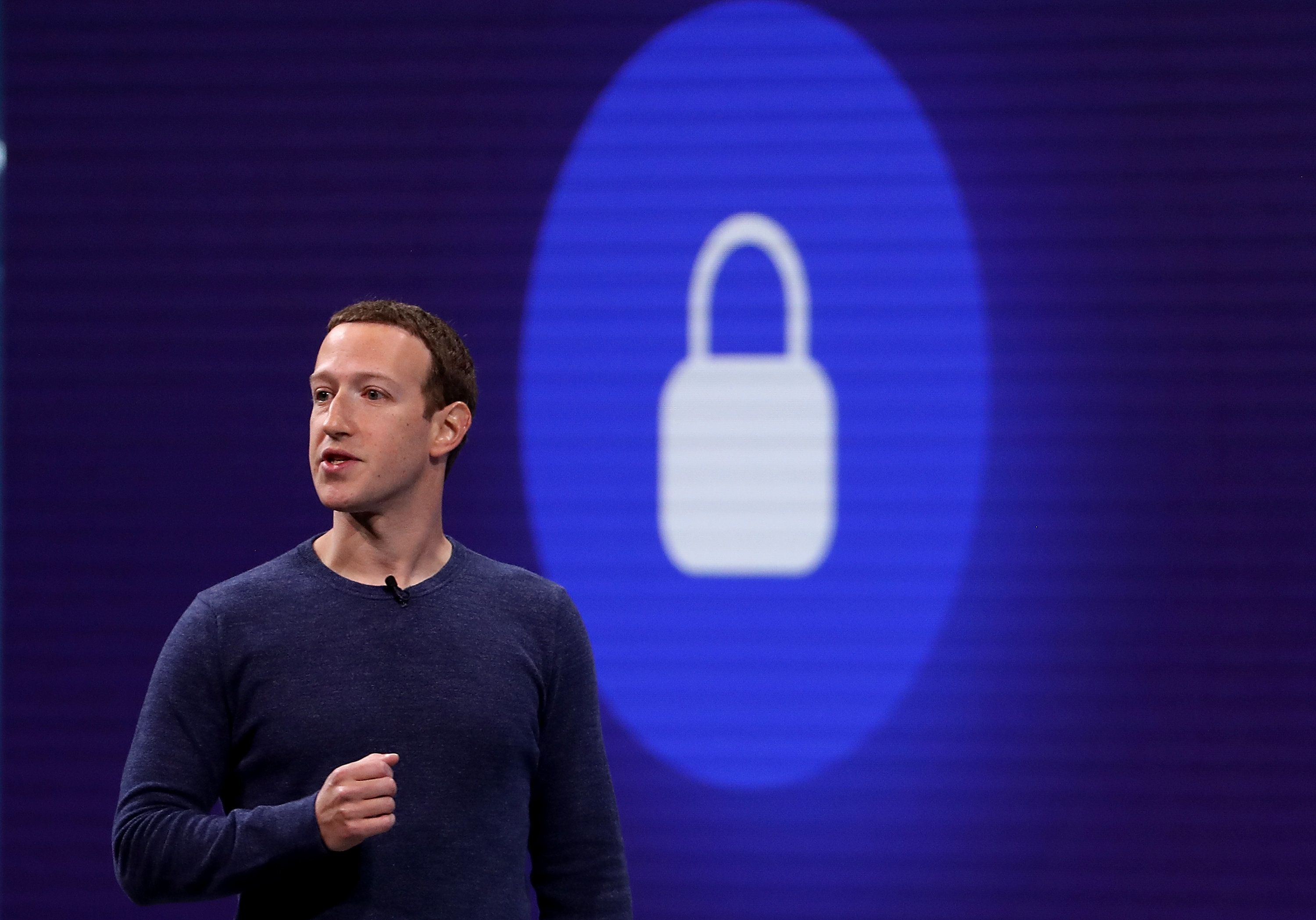 SAN JOSE, CA - MAY 01:  Facebook CEO Mark Zuckerberg speaks during the F8 Facebook Developers conference on May 1, 2018 in San Jose, California. Facebook CEO Mark Zuckerberg delivered the opening keynote to the FB Developer conference that runs through May 2.  (Photo by Justin Sullivan/Getty Images)