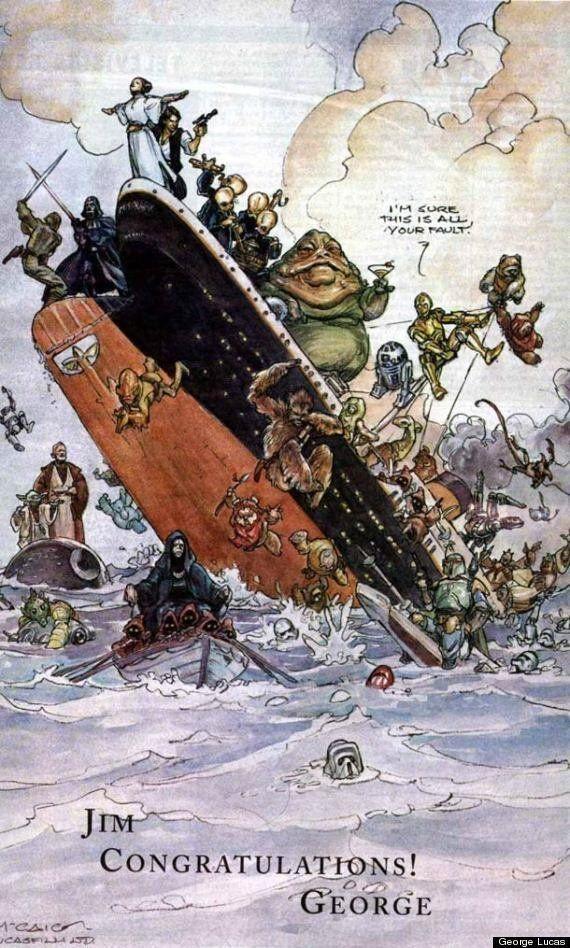 1998년 제임스 카메론의 '타이타닉'이 또 다시 신기록을 경신하자, 조지 루카스는 제임스 카메론을 축하하는 광고를