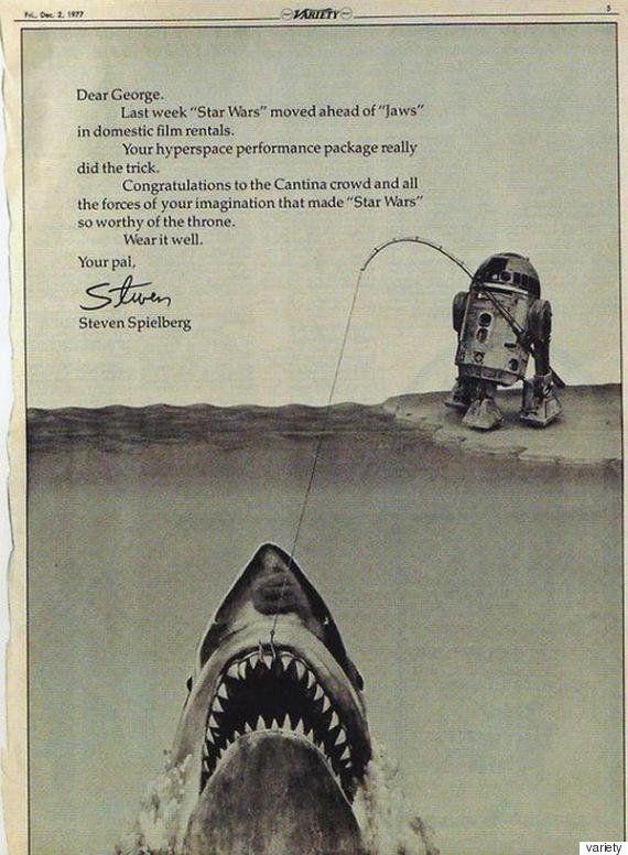 1977년, '죠스'의 감독인 스티븐 스필버그는 '스타워즈'의 조지 루카스 감독에게 '대여시장'에서 최고 기록을 세운...