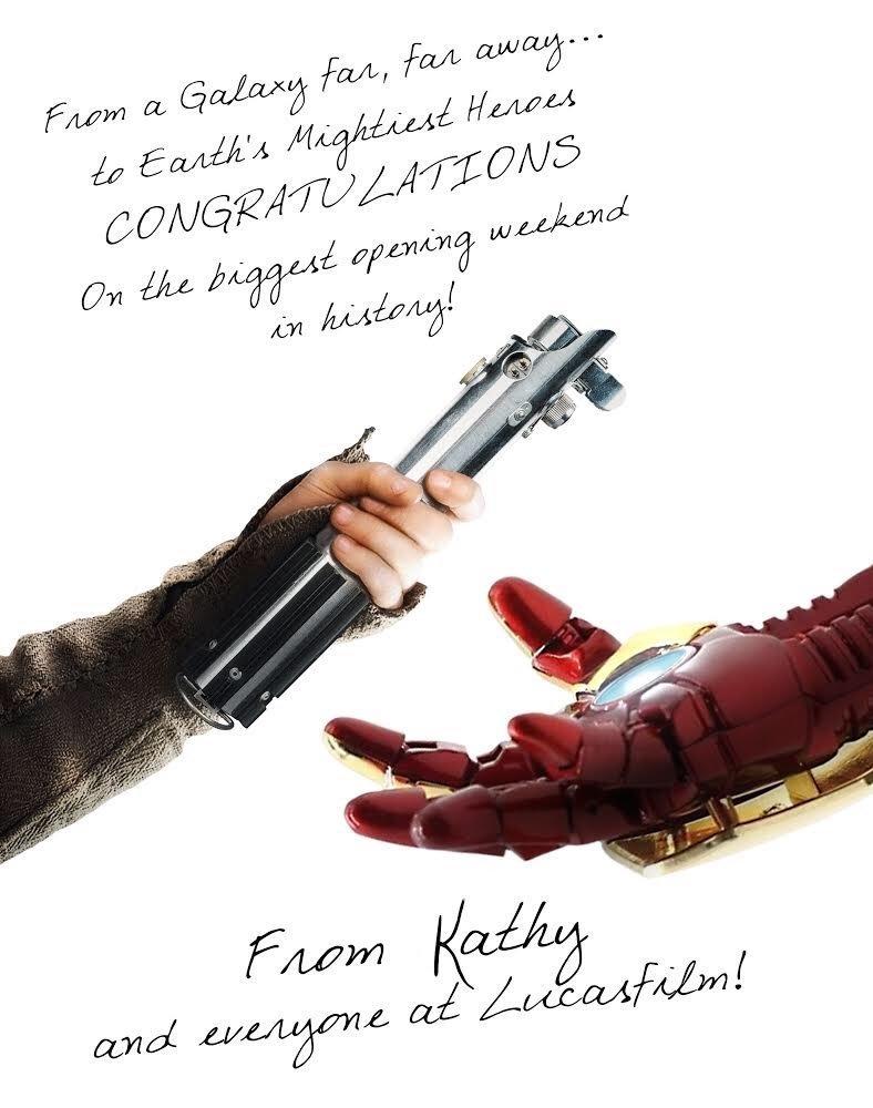 '스타워즈' 제작진이 '어벤져스'의 흥행을 축하한