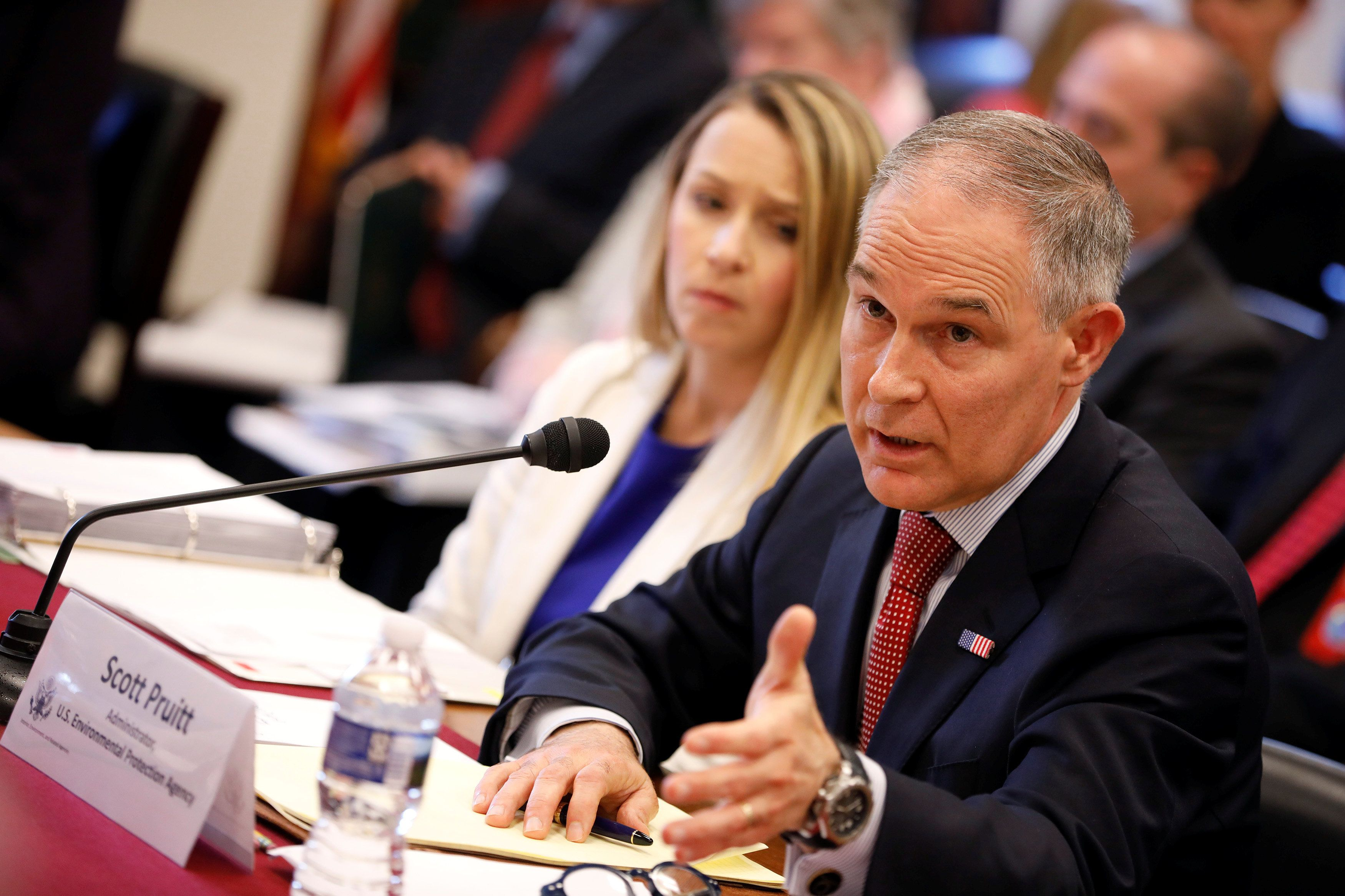 EPA Administrator Scott Pruitt testifies before the House Appropriations Committee Subcommittee on Interior, Environment, and Related Agencies Subcommittee on Capitol Hill in Washington, U.S., April 26, 2018. REUTERS/Aaron P. Bernstein