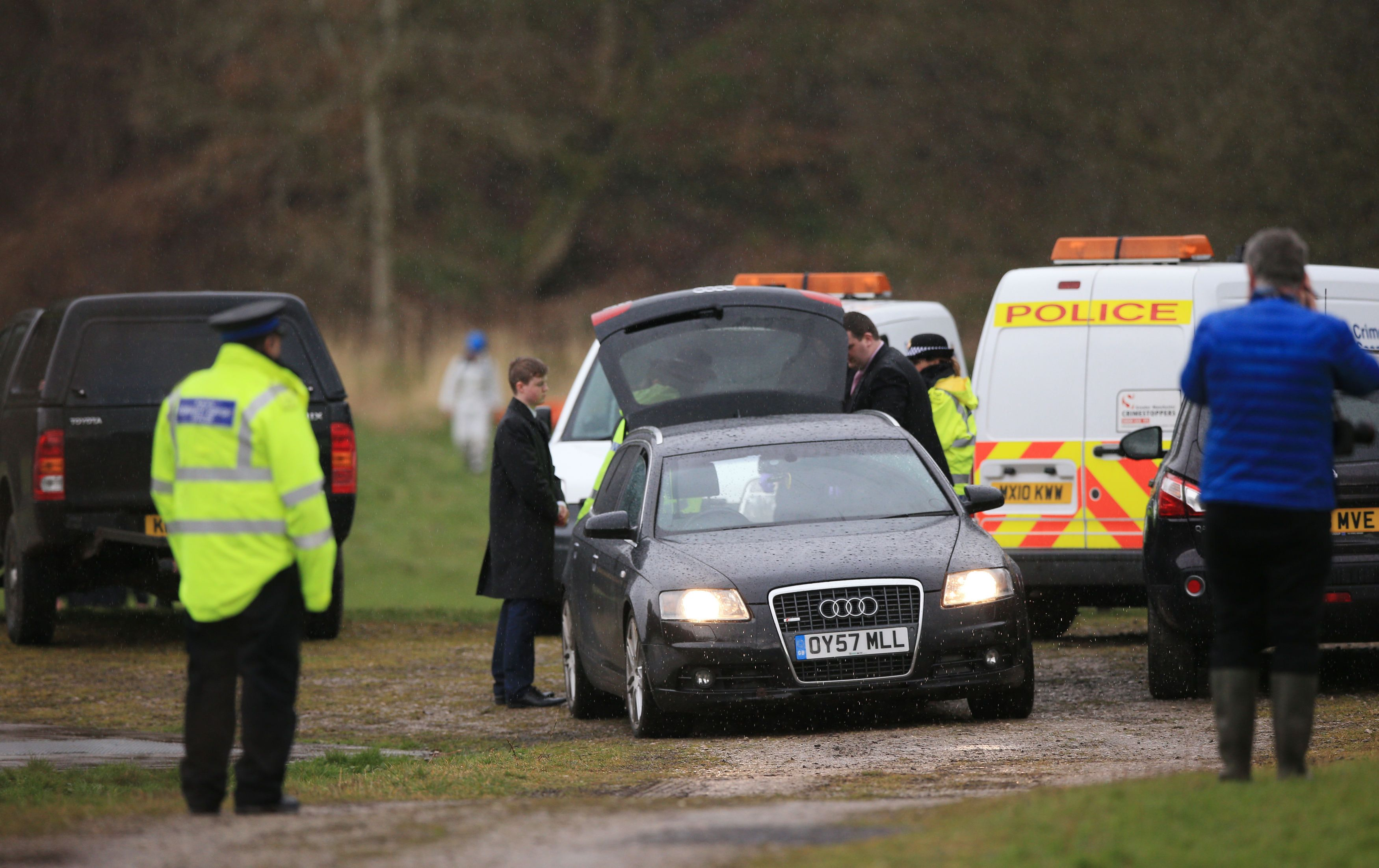 Police at the Heywood scene where the body of a newborn baby was found last
