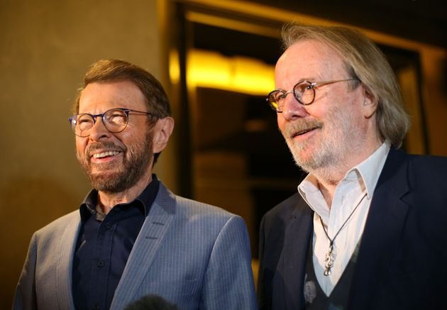 Björn (left) and Benny at the press night for their musical,
