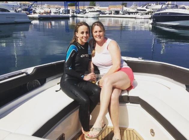 Kirsty Prowse pictured with her friend Sharon Lang in a picture on