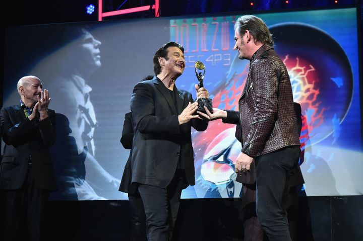 Steve Perry and Jonathan Cain at the 2017 Rock & Roll Hall of Fame induction ceremony in Brooklyn, New York.