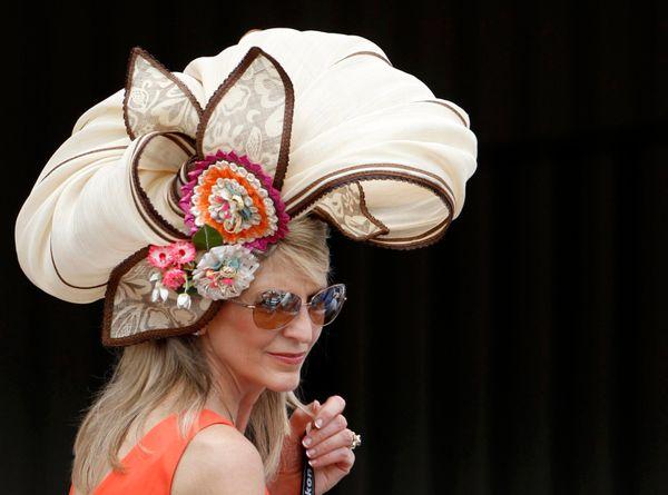 A woman wears a fancy hat atthe derby on May 5, 2012.