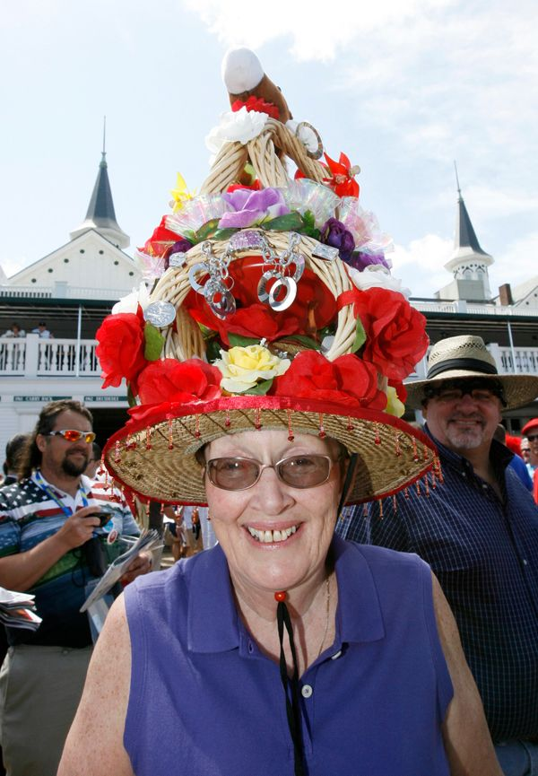 A race fan displays her hat on May 3, 2008.