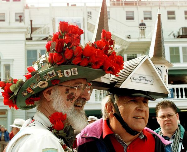 Col. Charles Matasich (left) and George Holter (right), wearing two of the most photographed hats at the 1997 Kentucky Derby.