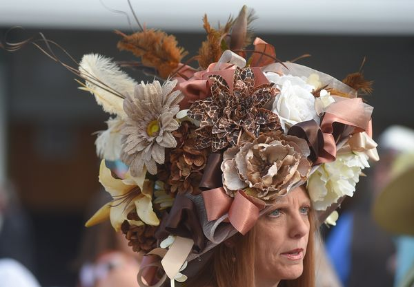 Tami Purcell of Knoxville, Tennessee, wearing a festive hatat the derby on May 3, 2014.
