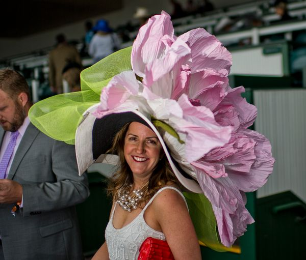 A woman wears a massive hat on May 6, 2017.