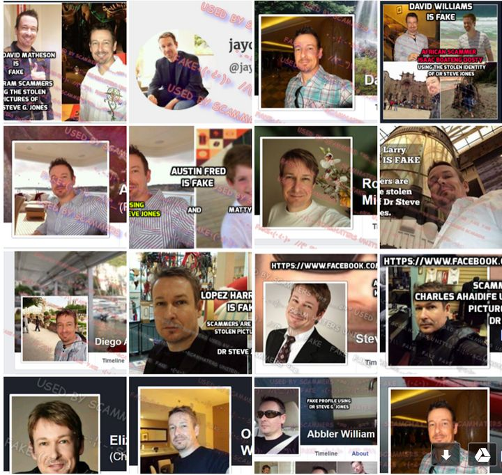 A compilation of some of the different profiles scammers created using the identity of Steve G. Jones, a doctor whose pics were used to steal thousands of dollars from women on the site.